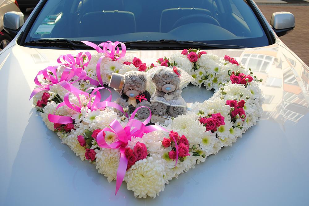 Украшение машин на свадьбу мишками